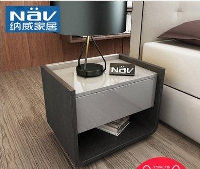 『格倫雅』納威北歐現代簡約鋼琴烤漆高級灰床頭櫃臥室儲物家具床邊櫃BD98^15753