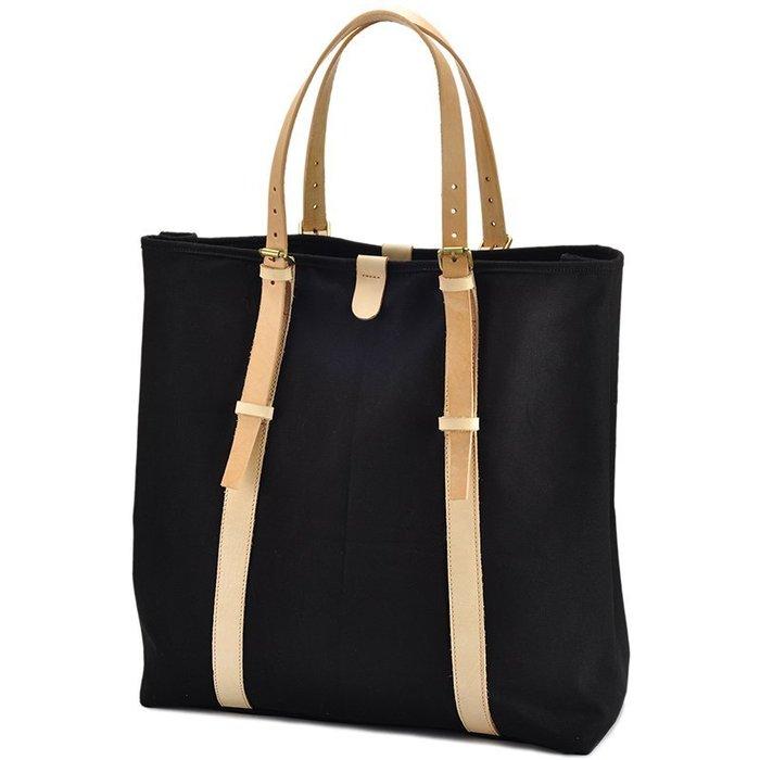 ~皮皮創~原創設計手作包。歐美大氣簡潔帆布托特包大容量購物袋真皮拼接帆布肩背包