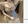 洋裝 性感抓褶顯胸蕾絲碎花泡泡袖方領連身裙 艾爾莎【TAE8325】