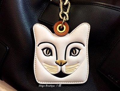 LOEWE 專櫃 真品 白色駝色 立體面貓咪系列 金色五金 鑰匙圈 吊掛式小皮件【全新收藏價14500含運費】