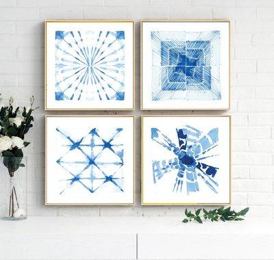 簡約藍色抽象形意圖形系列客廳臥室裝飾畫芯高清微噴打印壁畫畫心(不含框)