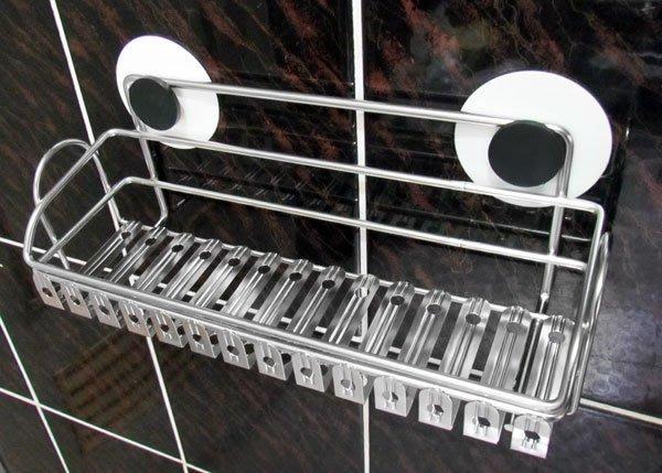 『嶄新、可靠、超黏性怪力貼』免鑽孔不鏽鋼板式置物架,※主動式強力黏著性※,可拆卸換位重複使用。廚房萬用架,不銹鋼調味料架