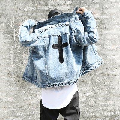 牛仔外套秋裝新款潮牌牛仔夾克男士牛仔衫磨破十字架刺繡拉鏈牛仔外套