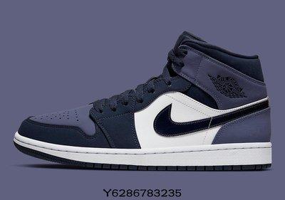 Air Jordan 1 Mid Obsidian Sanded Purple 黑紫 女 554725-445休閒慢跑潮流鞋