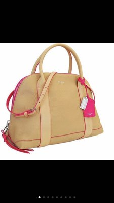 Coach大的貝殼包 檸檬黃荔枝皮 肩背 手提 斜背包(真品)不議價含運費