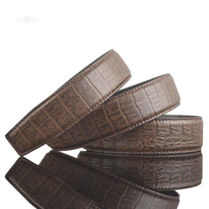 鱷魚紋皮帶條自動扣皮帶條男士腰帶條牛皮皮帶身LY3 /四月雜貨舖/