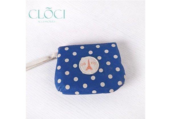 ~Cloci~Paris 巴黎鐵塔 撞色圓點 爆裂紋 毛氈 藍色 零錢包 化妝包 隨手包