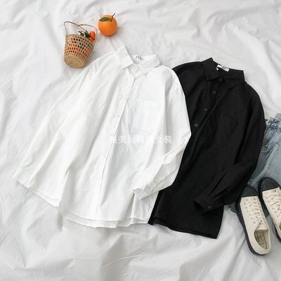 集美屋韓國女裝純色不規則長袖襯衫春季2019新款女裝正韓百搭中長款寬松外套上衣