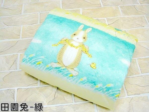 棉棉ㄉ店【田園兔-綠色】單人涼被.100%純棉台灣製造