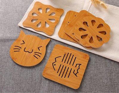 木質 可愛造型 卡通圖案 隔熱墊 餐桌墊 防滑鍋墊 創意 可愛 墊子 茶杯墊 碗墊 杯墊 (大號杯墊)