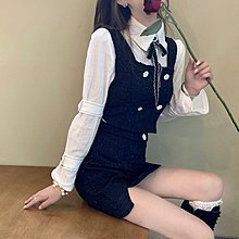 FQ3韓國專櫃秋季2021年新款名媛氣質輕熟套裝御姐馬甲襯衫半身裙洋氣二件套女