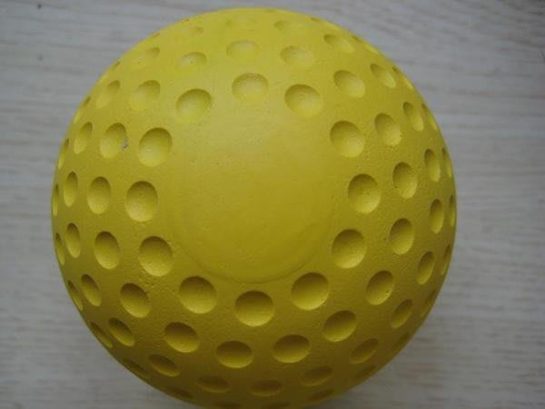 **黃色凹洞球洞洞球硬式橡膠棒球發球機用一顆60元