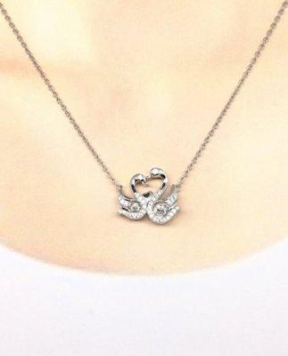 ☆╮Darling Baby ☆ 香港代購 正生銀飾~雙天鵝項鏈