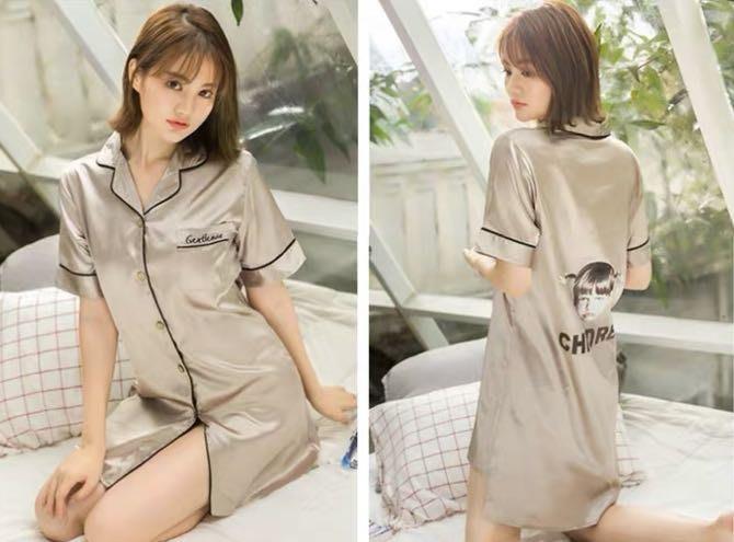 韓版氣質冰絲長版睡衣襯衫短袖睡衣