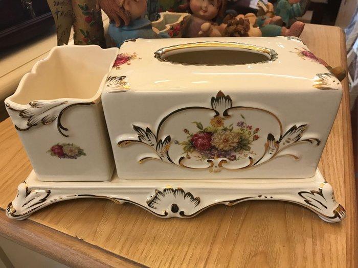 富貴描金色牡丹陶瓷面紙盒 居家擺放餐廳 民宿