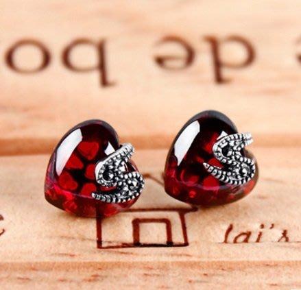 925泰銀復古 石榴石藍紅寶石氣質心形耳釘~抗過敏(藍色 紅色 玫紅)