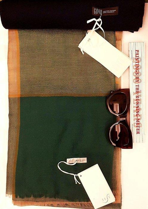 喀什米爾羊絨 圍巾100%cashmere國際品牌GOYO 披肩幾何大地色系 特輕 款 1