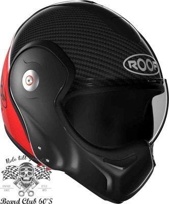 ♛大鬍子俱樂部♛ ROOF ® Boxxer Carbon 法國 復古 碳纖維 街車 多功能 掀蓋 全罩 安全帽 黑/紅