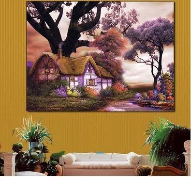 2【磚石畫材料包】5D鑽石畫夢幻小屋圓鑽石繡貼鑽畫十字繡 風景臥室新款客廳畫大幅