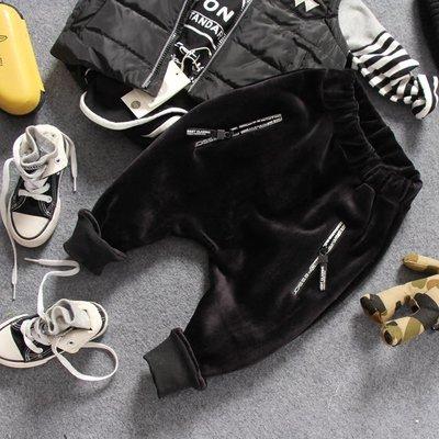 【Mr. Soar】 E115 冬季新款 韓國style童裝男童黑色金絲絨加絨長褲垮褲 現貨 寒流必備款