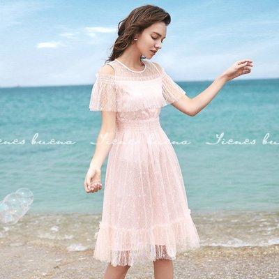 Tienes Buena【原創精品女裝】露肩蕾絲鬆緊腰短袖洋裝 (預購) 歐美平價設計