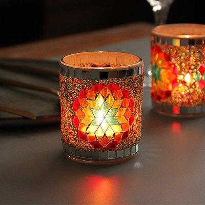 熱銷#歐式浪漫漸變花朵杯形馬賽克玻璃燭臺DIY香薫燭空杯裝飾擺設筆筒#燭臺#裝飾