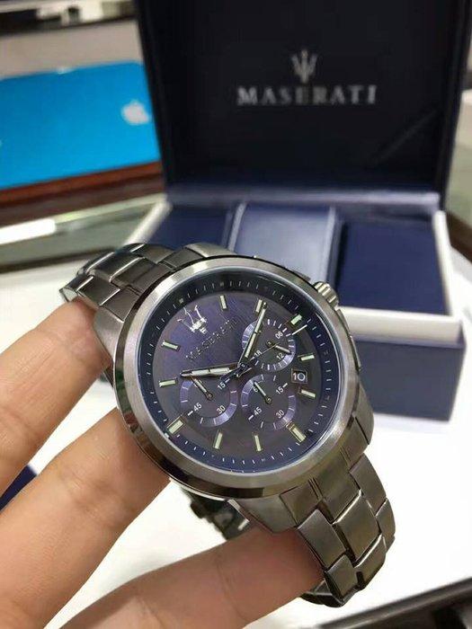 瑪莎拉蒂手錶MASERATI手錶SUCCESSO款,編號:MA00235,寶藍色錶面灰黑色精鋼錶帶款