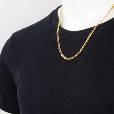 (現貨免運)[Hiphop-up] 嘻哈 饒舌 頑童 鍍金 金扁鏈5mm金項鍊