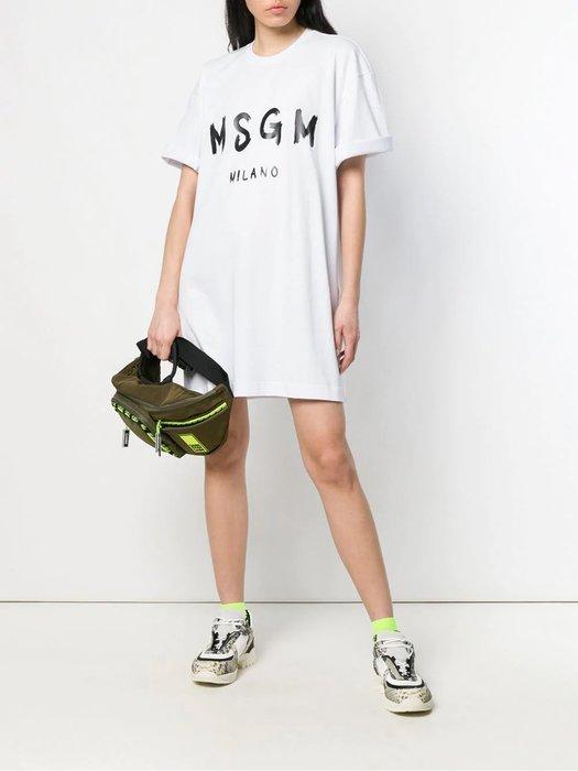 CC Collection 代購 MSGM 19SS 春夏 經典印花Logo寬鬆版短袖洋裝