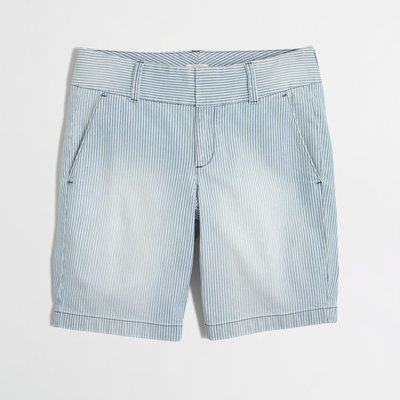 【美衣大鋪】Jcrew☆ J.Crew 正品☆Frankie short in railroad stripe 美褲