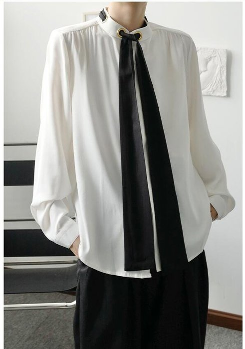 FINDSENSE X  男士 長袖寬松 休閑 輕熟極簡風垂感領帶立領氣質長袖襯衫