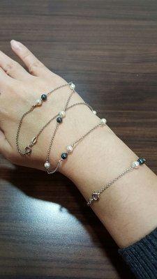 雙色珍珠項鍊手鍊套組K18