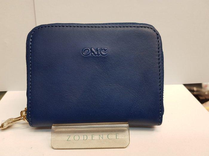 小阪屋皮件 OMC OMNIA COLORARE 精品95025原皮鑽石藍輕便方型拉鏈零錢包(可放卡片)