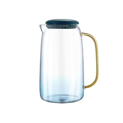 冷水壺【】心選漸變籃耐熱玻璃冷水壺1.8LV型壺嘴不易漏@li63682