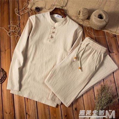 長袖t恤中國風男裝春秋套裝男士禪服男寬鬆唐裝刺繡體恤上衣長褲    全館免運
