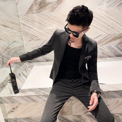 【時尚先生男裝】新款英倫男士時尚印花西服兩件套裝男青年修身韓版小西裝休閑外套韓版西裝 修身西裝 整套西裝 西裝褲 西裝外套正式西裝A0050