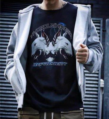 REPRESENT雙頭狼歐美高街潮牌潮流閃電寬鬆地獄犬FOG男女短袖T恤