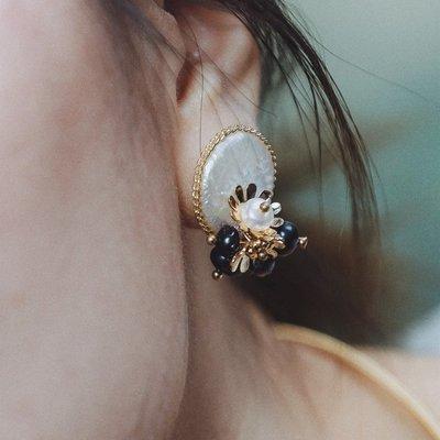 現貨 原創設計手工天然珍珠母貝復古鑲花...