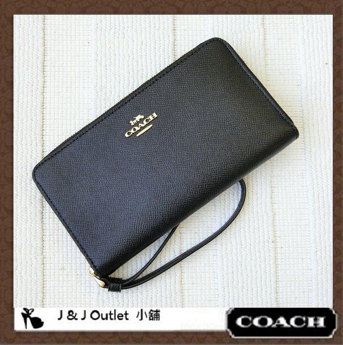 [JJ Outlet 小舖精選, 現貨在台]全新Coach 73413 黑色手拿拉鍊式多功能長夾/皮夾(附購証)