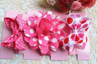 ☆草莓花園☆女童髮帶 女寶寶頭飾 嬰兒頭飾 新生婴兒禮品 滿月周歲拍照髮帶禮盒 套裝35附精美外盒