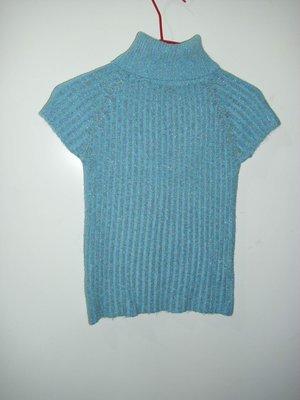 潮流帥衣 韓風粉藍色金蔥毛線編織設計款緊身造型套頭毛衣 衣長50公分 零碼特價