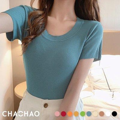 超哥小舖【T20007】暖日甜美簡單圓領短袖短版針織T恤T-shirt上衣修身曲線顯胸韓國新款多色純色素面