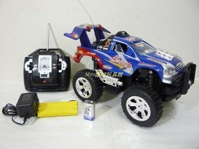 Mini酷啵玩具館~1:12 4WD四輪傳動~充電遙控大腳聲光越野車(藍)