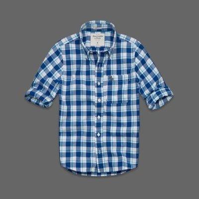 美國AMPM【現貨S133】AF A&F 男版Saranac Lake Shirt 格紋薄款格紋襯衫 L 號
