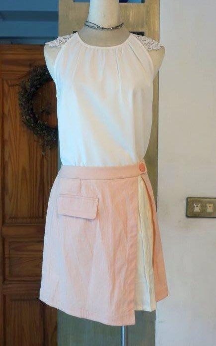 [C.M.平價精品館]L碼現貨最後一件出清特價/設計師精品專櫃別緻拼接百摺假兩件粉色短裙