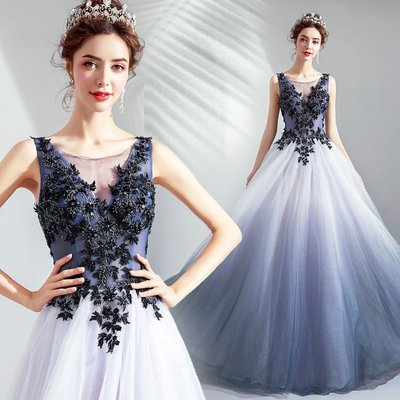 新年婚禮禮服婚紗禮服宴會禮服夢幻星空漸變裙 藍色生日宴會演出婚紗晚禮服裙