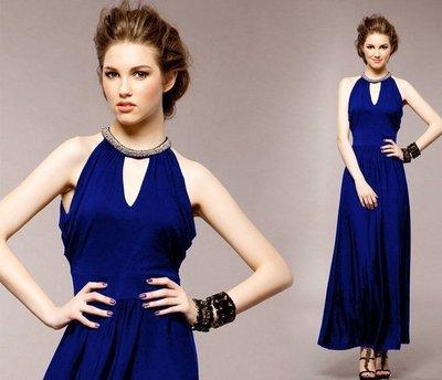 【17LOVE】現貨新款 希臘女神 優雅舒適 鑽飾V領 性感長洋裝 長裙 渡假 約會 黑 寶藍 晚宴 情人節
