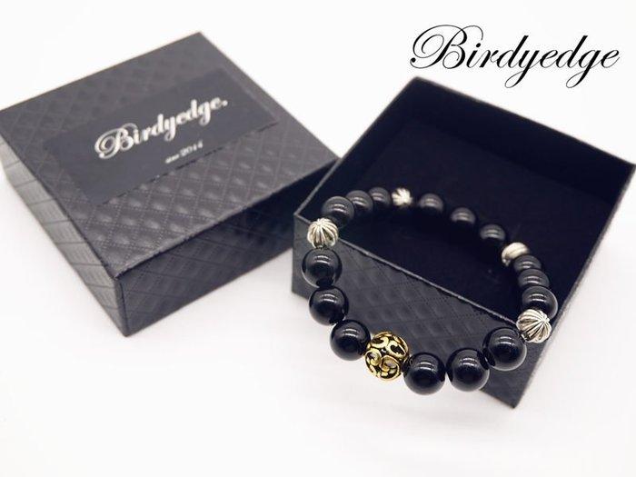 【Birdy Edge】黑色 石頭 簍空 金珠 手環  大金珠 克羅心 十字 手環 男 串珠 品牌 朵 免運費