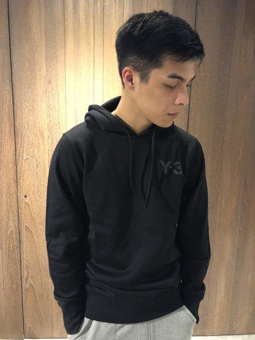 美國百分百【全新真品】Adidas 愛迪達 Y3 休閒 連帽 帽T logo 素面 長袖 黑色 S號 J420