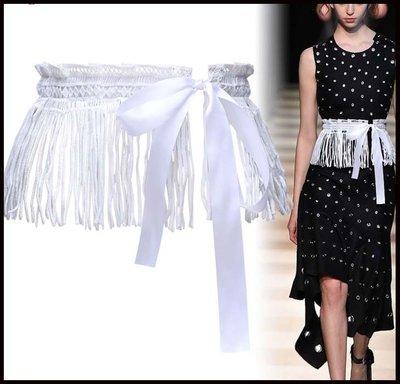 【Fashion歐洲站】蕾絲腰封女束腰外搭裝飾連衣裙配裙子簡約百搭流蘇系帶寬腰帶外穿